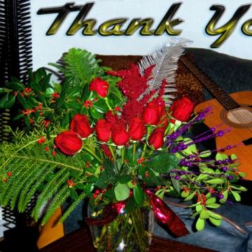 Original Winter Flower & Plant Floral Arrangement and Guitar on Sofa Photograph Card Edit