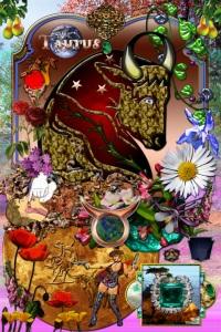 Taurus characteristic elements collage art