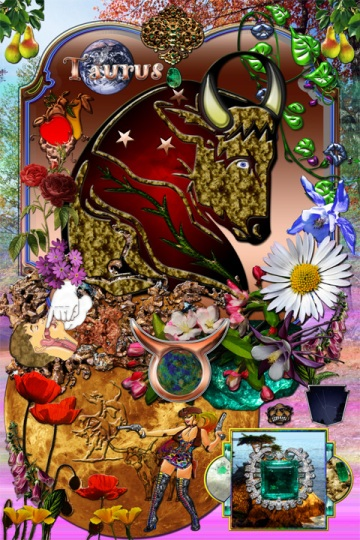 Taurus characteristic elements collage art