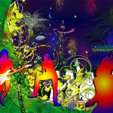 Awesome New Modern Art Release Titled: Lime Light Dancing Music Tropical Floral Collage II