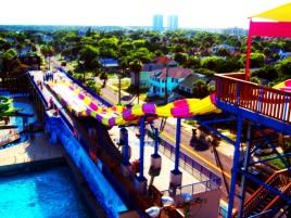 Photo manipulation digital of photograph taken facing west from Daytona beachside parking garage on July 4th, 2011