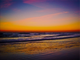 New Art Titled: Ripples in the Sand Sunrise on the Beach Photo Art III. Digital Photography Edit, of photo taken facing southeast along the Atlantic Ocean from the Beach