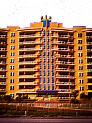 New Art Titled: Ocean Vistas Beach Condominiums Art. Photo Art Edit of photo taken at sunrise on the beach, of the Ocean Vistas.