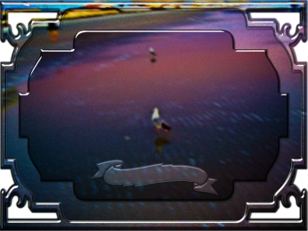 New Art Titled: Seagulls on pink and blue waters edge. Digital framed photo edit of seagulls on the waters edge on Daytona Beach in the early morning dawn.