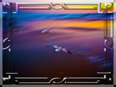 New Art Titled: Seagulls on pink and blue waters edge II. Digital framed abstract photo edit of seagulls flight over the waters edge on Daytona Beach in the early morning dawn, and out into the waves, artwork . done in a rough pastel modern abstract st