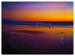 New Art Titled: Seagulls Frolicking & Flying During Dawn on Beach II. Computer edit of photograph taken on Daytona Beach, early in the morning facing northeast over the Atlantic Ocean of a beautiful new day and seagulls and other seabirds, flying, froli