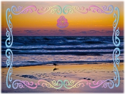 New Art Titled: Bird Standing At Waters Edge During Dawn. Modern digital artwork of a bird standing on the beach at the edge of the Atlantic Ocean, from photograph taken on Daytona Beach, in Florida just before the sun breaks through the horizon.