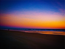 New Art Titled: Beach and Seascape at Dawns Early Light. This digital photo art edit is my artist version of this photograph. Taken just before sunrise on Daytona Beach, of the beach and Atlantic Ocean facing northeast