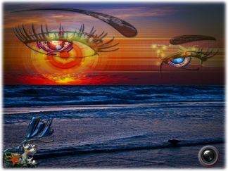 New Art Titled: Mother Nature Wants U To Know She Is Watching. Morning dawn just before the sun brakes through the horizon over the Atlantic Ocean in Daytona Beach, on a January morning the clouds along the horizon are bright red, orange and golden yell