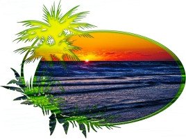 New Art Titled: Sunrise over Atlantic Ocean Palms & Tropical Plants. Photo art digital edit of the sun rising over the Atlantic Ocean the waves on the beach surrounded by oval with palm trees and tropical plants