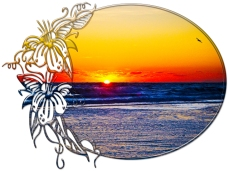 New Art Titled: Sunrise over Atlantic Ocean Palms & Tropical Plants III. Photo art digital edit of the sun rising over the Atlantic Ocean the waves on the beach surrounded by oval with tropical plants