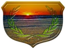 New Art Titled: Sunrise Over The Atlantic & Shield Design Art. Digital photo edit of sunrise over the Atlantic Ocean, from photograph taken on Daytona Beach, Florida in January.