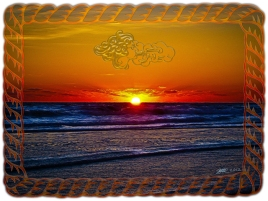 new Art Titled: Sunrise Over Atlantic Ocean Rope Frame. Photography edit of photo taken over the Atlantic Ocean at Sunrise just as the sun is coming up over the coastal horizon line.