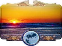 new Art Titled: Sunrise Over Atlantic Ocean in Unique Frame. Photography edit of photo taken over the Atlantic Ocean at Sunrise just as the sun is coming up over the coastal horizon line.