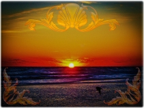 new Art Titled: Magnificent Sunrise Over The Atlantic Ocean. Although it's only 3/4 of the way above the ocean's horizon line here, the sun look's complete, as if it's burning a whole in the Atlantic Ocean, in this photo edit with a bird flying over the
