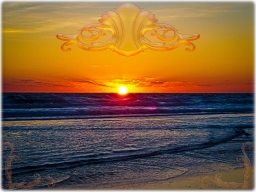 new Art Titled: Magnificent Sunrise Over The Atlantic Ocean II. Although it's only 3/4 of the way above the ocean's horizon line here, the sun look's complete, as if it's burning a whole in the Atlantic Ocean, in this photo edit with a couple of birds t