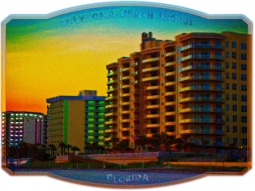 new Art Titled: Daytona Beach Shores Coastal Resorts Framed Art. Shown in this sunrise photo art edit the Ocean Vista's Resort Condominium, Bahama House Beach Resort and the Treasure Island