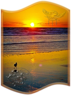 New Art Titled: Ocean Sunrise Reflected on Beach Indian Brave Art. Unique sunrise image with the sun completely over the Atlantic coastal horizon and reflecting over the ocean, waves and beach, in a rainbow of vibrate colors.