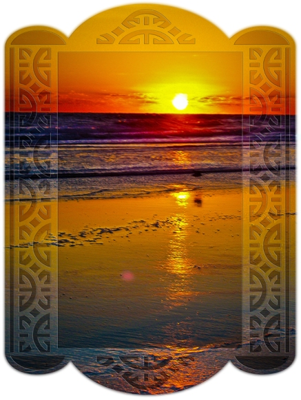 New Art Titled: Ocean Sunrise Reflected on Beach Framed Art Design. Original sunrise image with the sun completely over the Atlantic coastal horizon and reflecting over the ocean, waves and beach, in a rainbow of vibrate colors. I digitally edited and