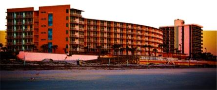 New Art Titled: Beach Resorts in Daytona Beach Florida Landscape Art. Original panoramic style photo art edit taken at sunrise, of a couple of beach resorts in Daytona Beach Shores