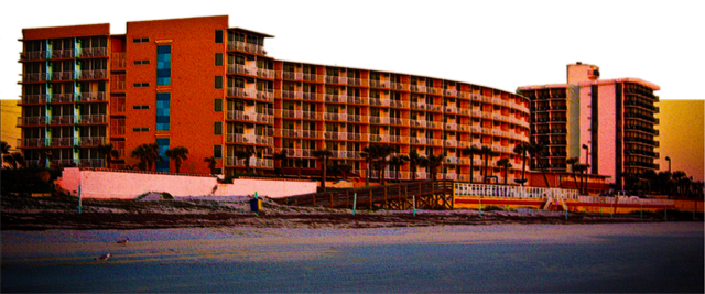 New Art Titled: Beach Resorts in Daytona Beach Florida Landscape Art. Original panoramic style photo art edit taken at sunrise, of a couple of beach resorts in Daytona Beach Shores