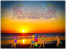 New Art Titled: Kids Rule the Beach Sunrise Graphics & Photo Art. Several elements here the background is a photo of the sunrise over the Atlantic Ocean, waves and beach, that has been digitally edited, Then there are four children graphics Finally ac