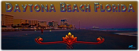 New Artwork Titled: Daytona Beach Florida At Sunrise Panoramic Photo Art. Panoramic photograph art edit of Daytona Beach at sunrise facing north of a long stretch of resorts and coastline up to the Daytona Beach Boardwalk. Daytona Beach Florida text art