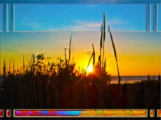 New Art Release Titled; Ocean Sunrise Through Sea Oat and Wooden Fence. Digital art photo edit of sunrise on Daytona Beach as seen from the public walkway through wild sea oats and other overgrown beach vegetation as the rays of light from the sun pure