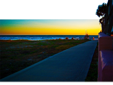 New Art Release Titled; Public Walkway To The Beach At Sunrise. Photo art edit of Daytona Beach public access sidewalk, pink wall with wooden railings and ramp to the ocean, a beautifully colored landscape growing wild...