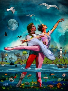 New Art Release Titled; Blue Moon Ballet A Complete Fiction. Ocean floor cutaway of ballet dancers dancing on golden treasure, between the fish and seaweed on floor of the ocean.