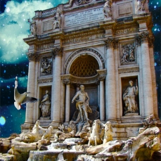 New Art Release Titled: Moonlit Trevi Fountain Tropical Fantasy. Photo-manipulation of Trevi Fountain in Rome.