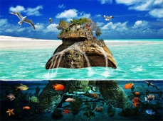 New Art Release Titled: Turtle Island Fantasy Secluded Resort. Ocean floor cutaway of turtle with encampment...