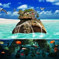 New Art Release Titled: Turtle Island Fantasy Secluded Resort. Ocean floor cutaway of turtle with encampment...